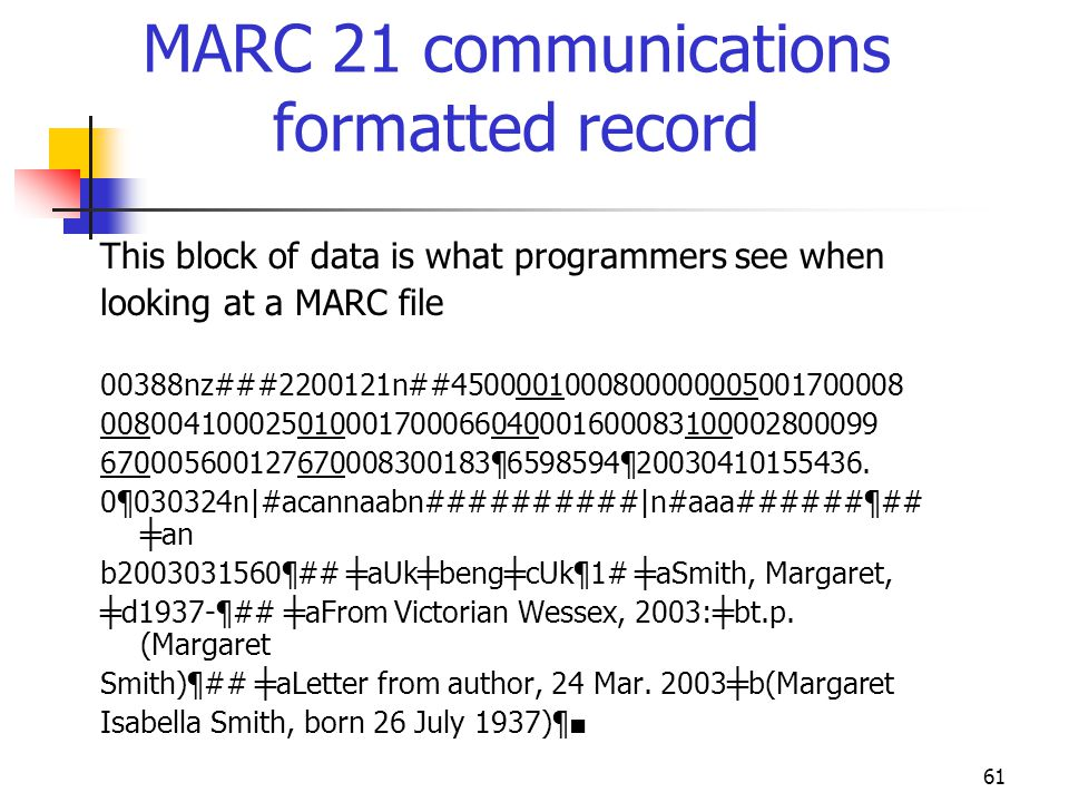 MARC 21 communications formatted record