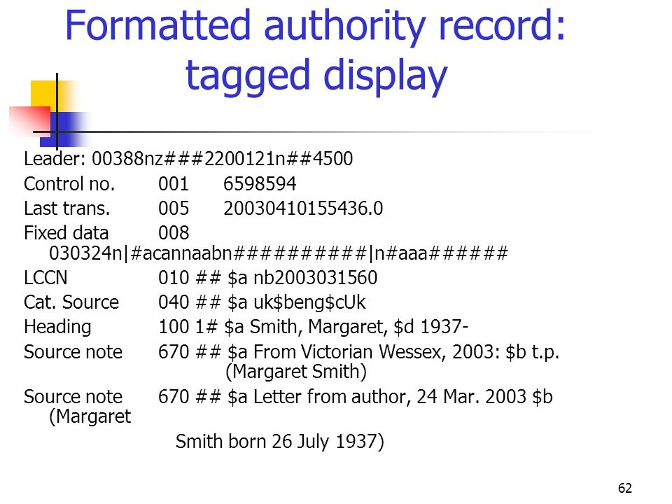 Formatted authority record: tagged display