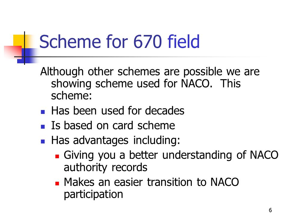 Scheme for 670 field Although other schemes are possible we are showing scheme used for NACO. This scheme: