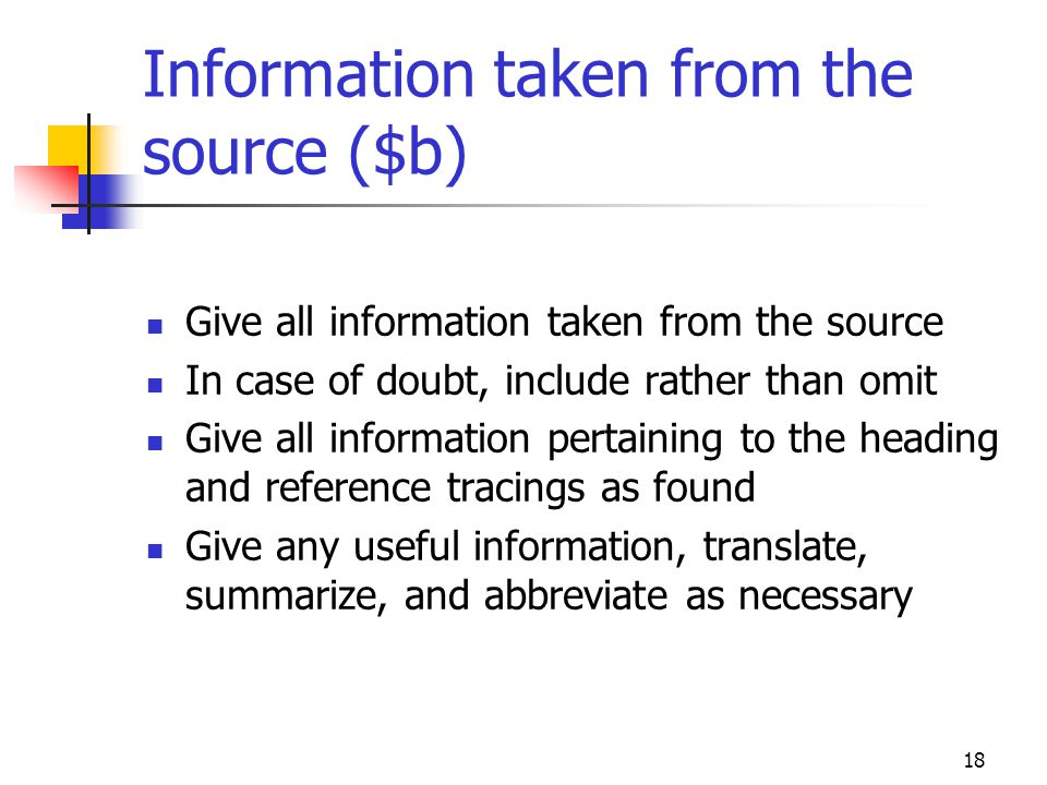 Information taken from the source ($b)