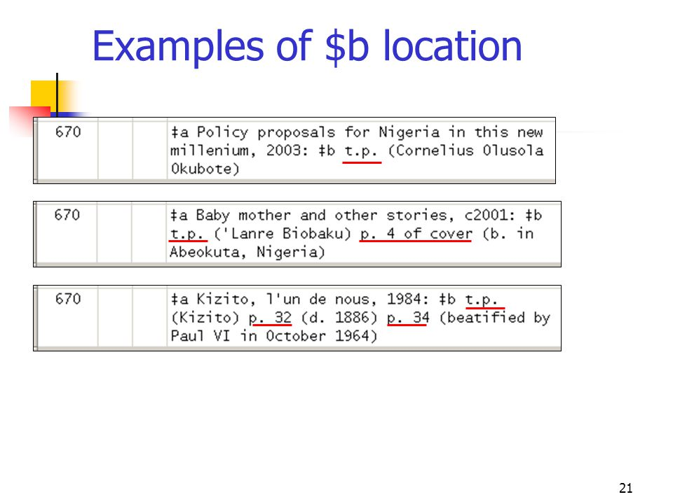 Examples of $b location