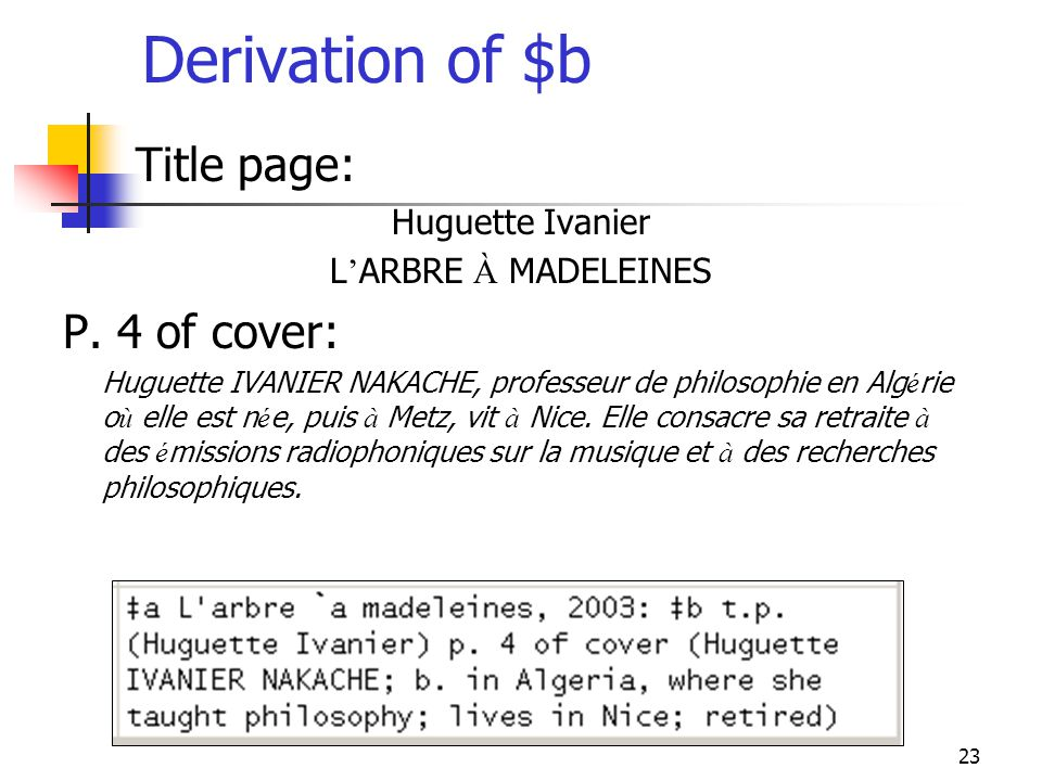 Derivation of $b Title page: P. 4 of cover: Huguette Ivanier