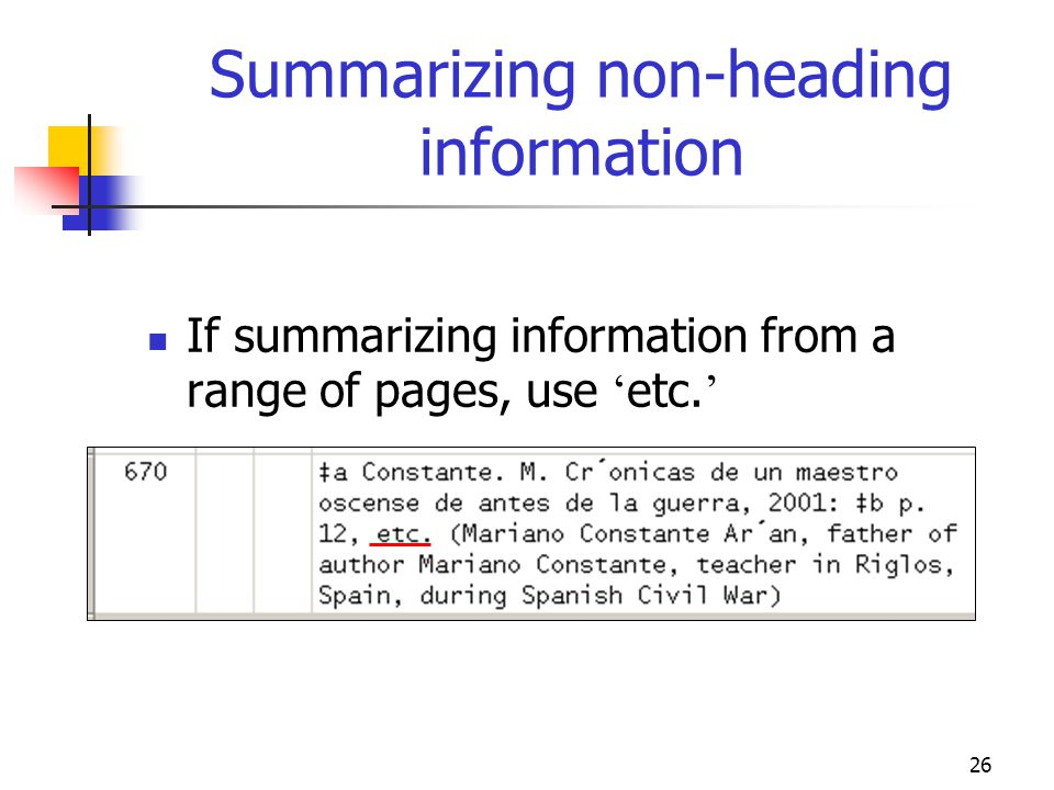 Summarizing non-heading information