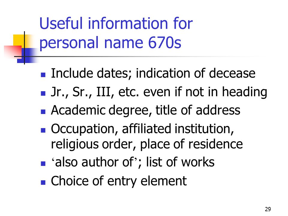 Useful information for personal name 670s
