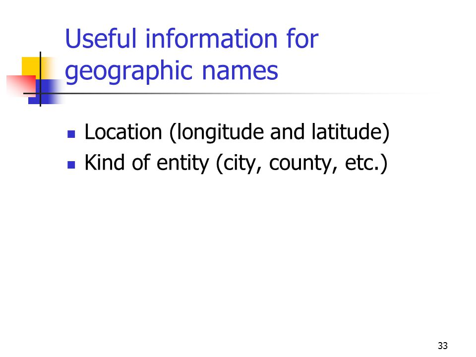 Useful information for geographic names