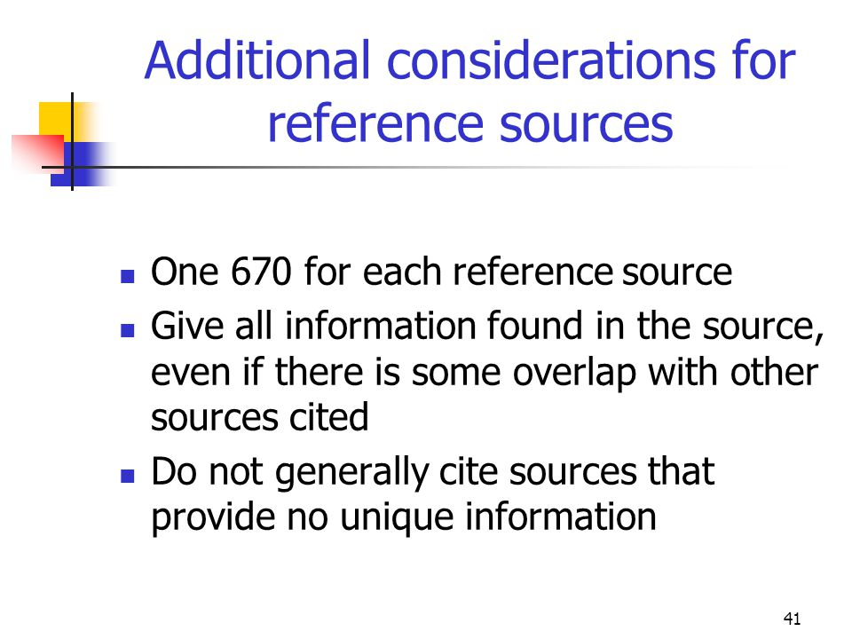 Additional considerations for reference sources