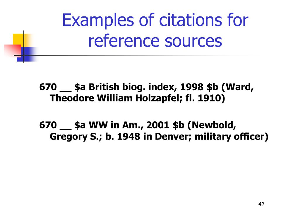 Examples of citations for reference sources