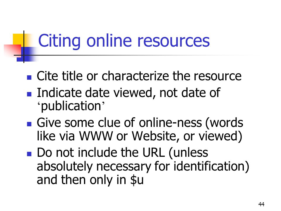Citing online resources