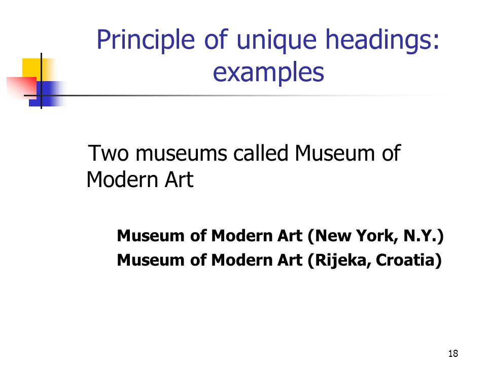 Principle of unique headings: examples