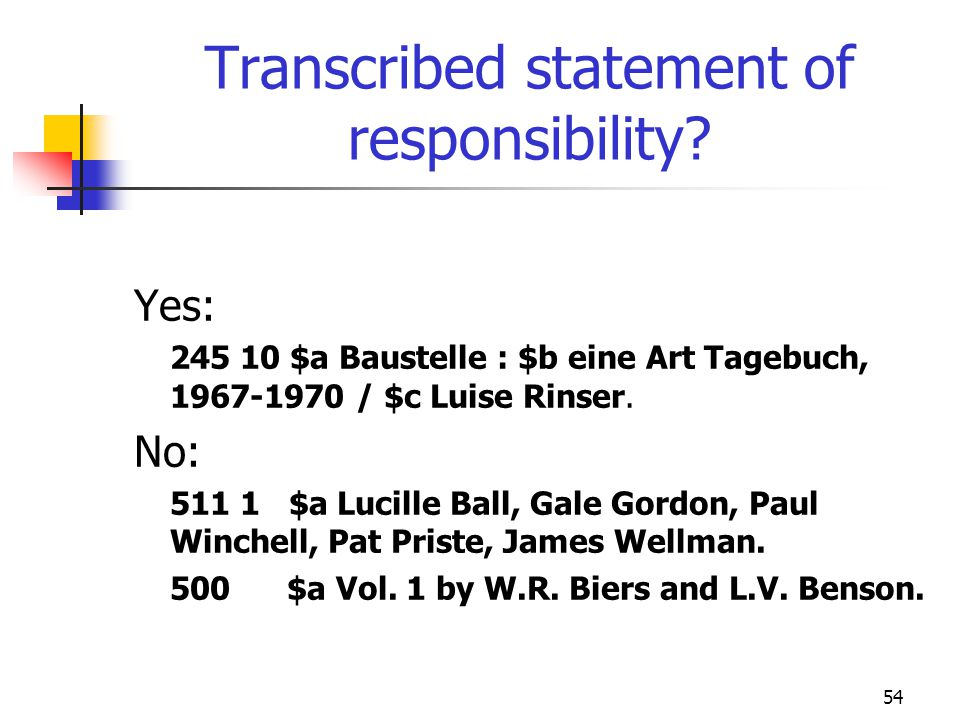 Transcribed statement of responsibility