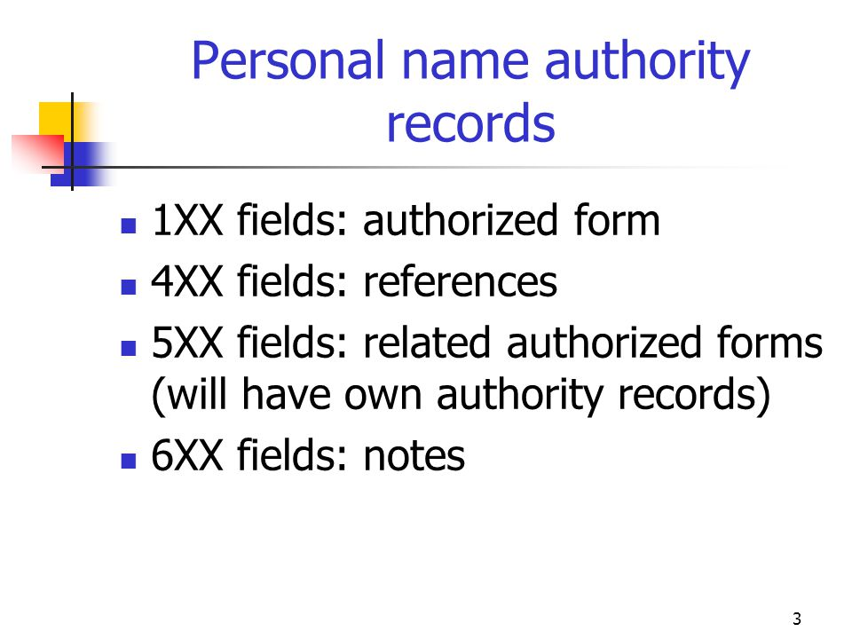 Personal name authority records