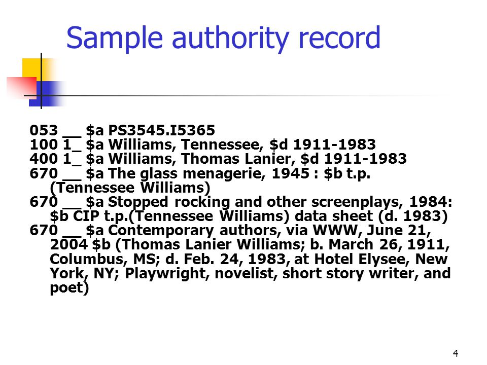 Sample authority record