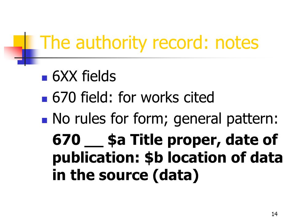 The authority record: notes