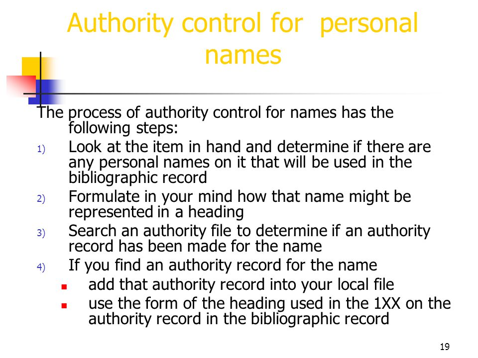 Authority control for personal names