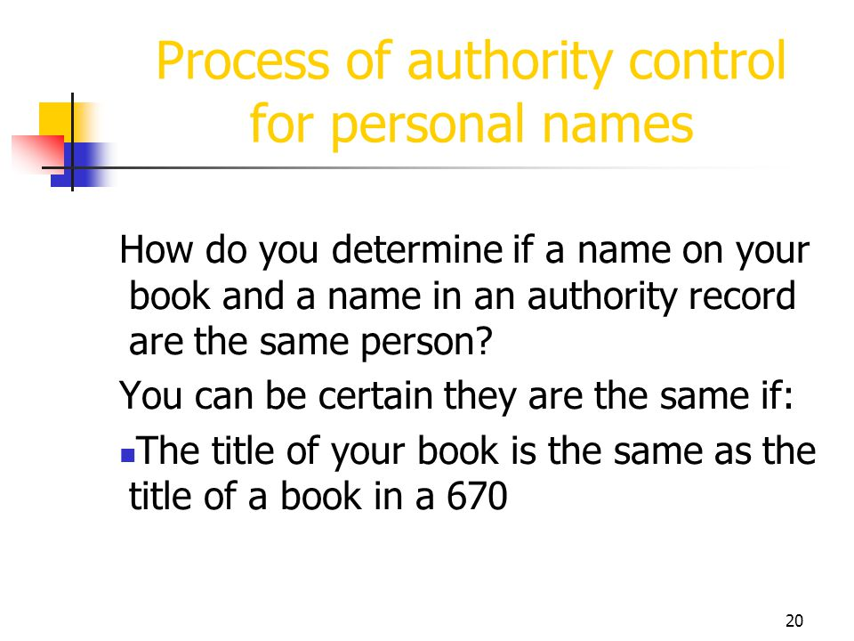 Process of authority control for personal names