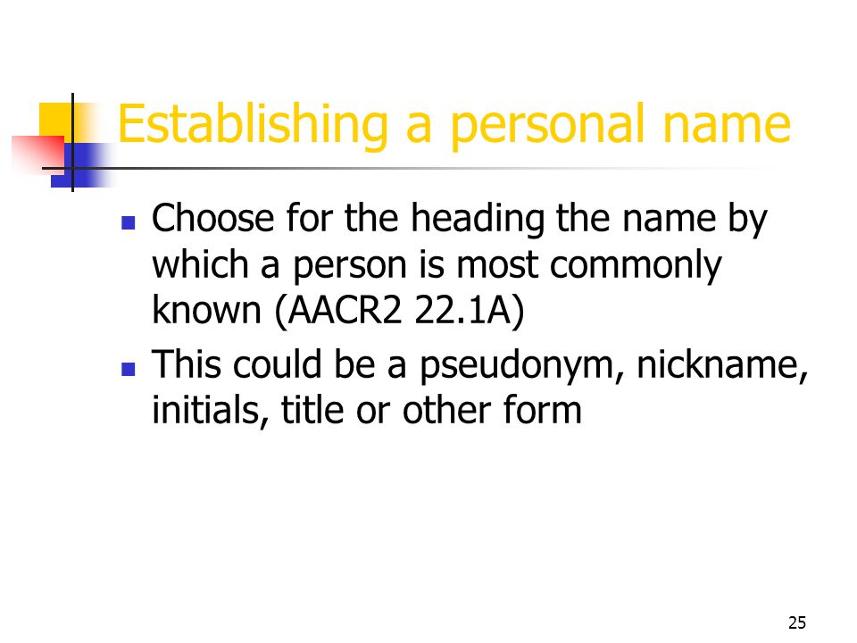 Establishing a personal name
