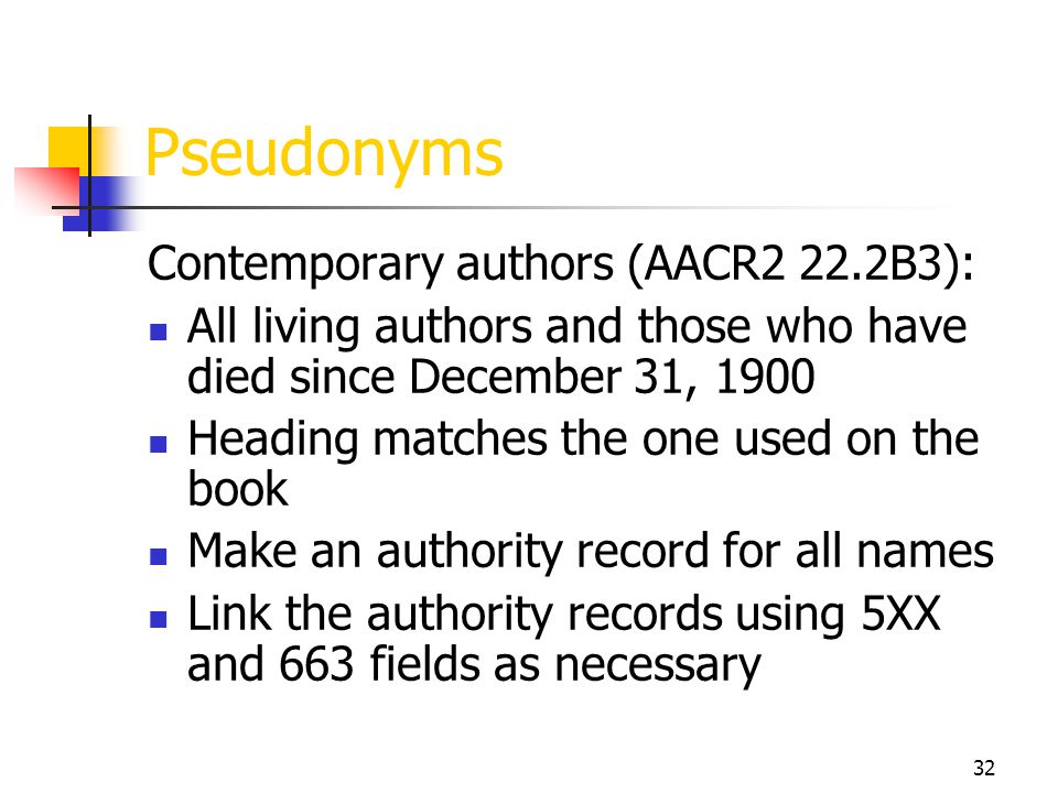 Pseudonyms Contemporary authors (AACR2 22.2B3):