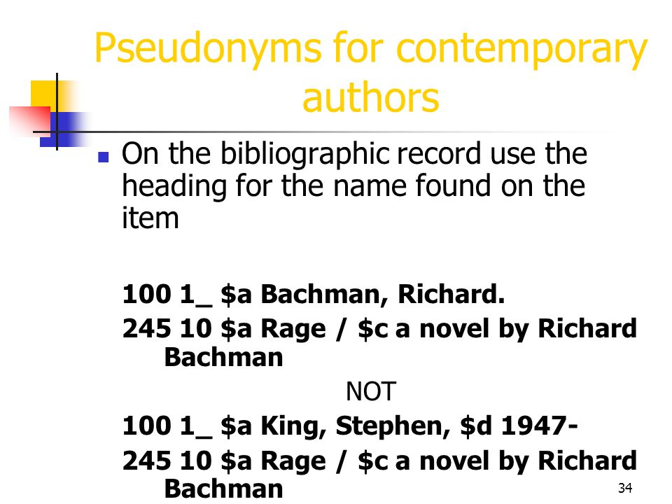 Pseudonyms for contemporary authors