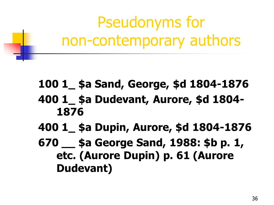 Pseudonyms for non-contemporary authors
