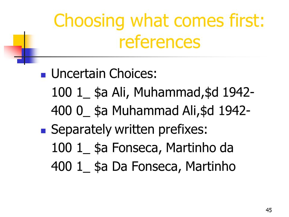 Choosing what comes first: references