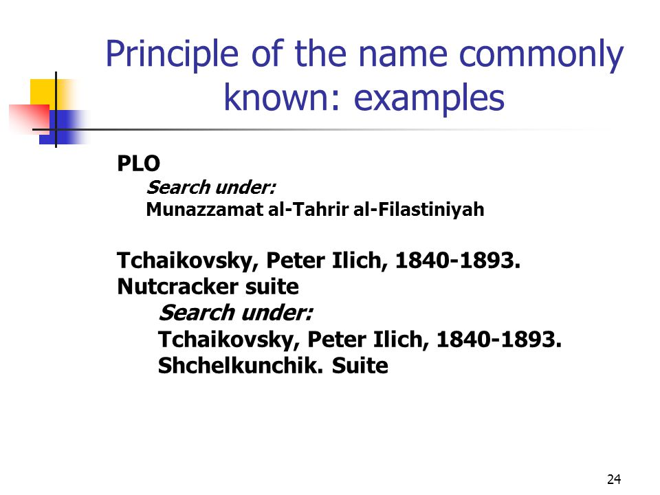 Principle of the name commonly known: examples