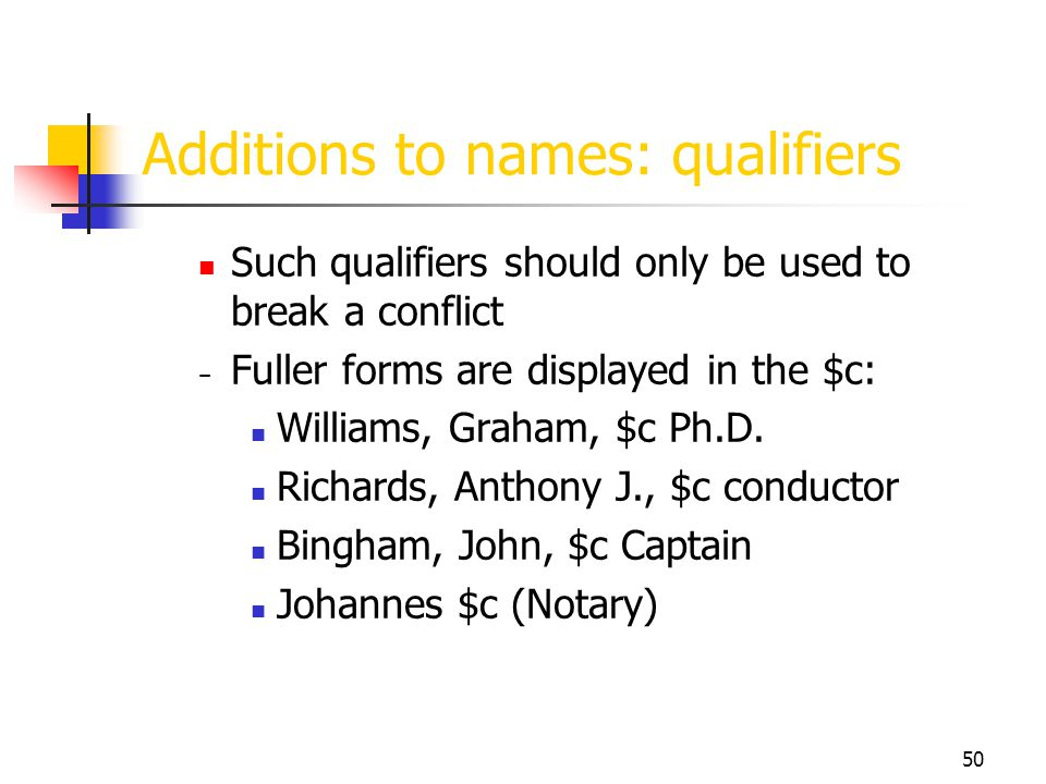 Additions to names: qualifiers