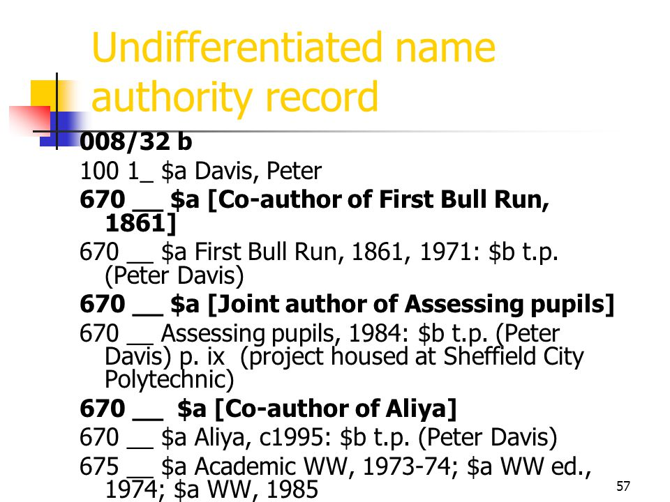 Undifferentiated name authority record