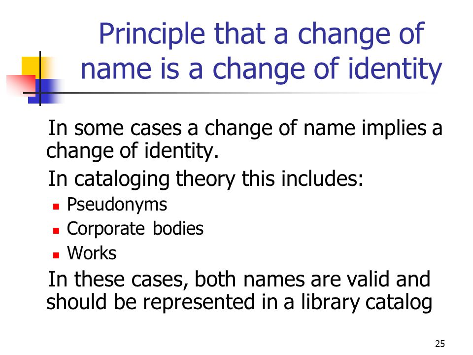 Principle that a change of name is a change of identity