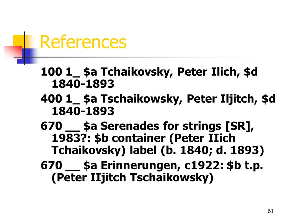References 100 1_ $a Tchaikovsky, Peter Ilich, $d 1840-1893