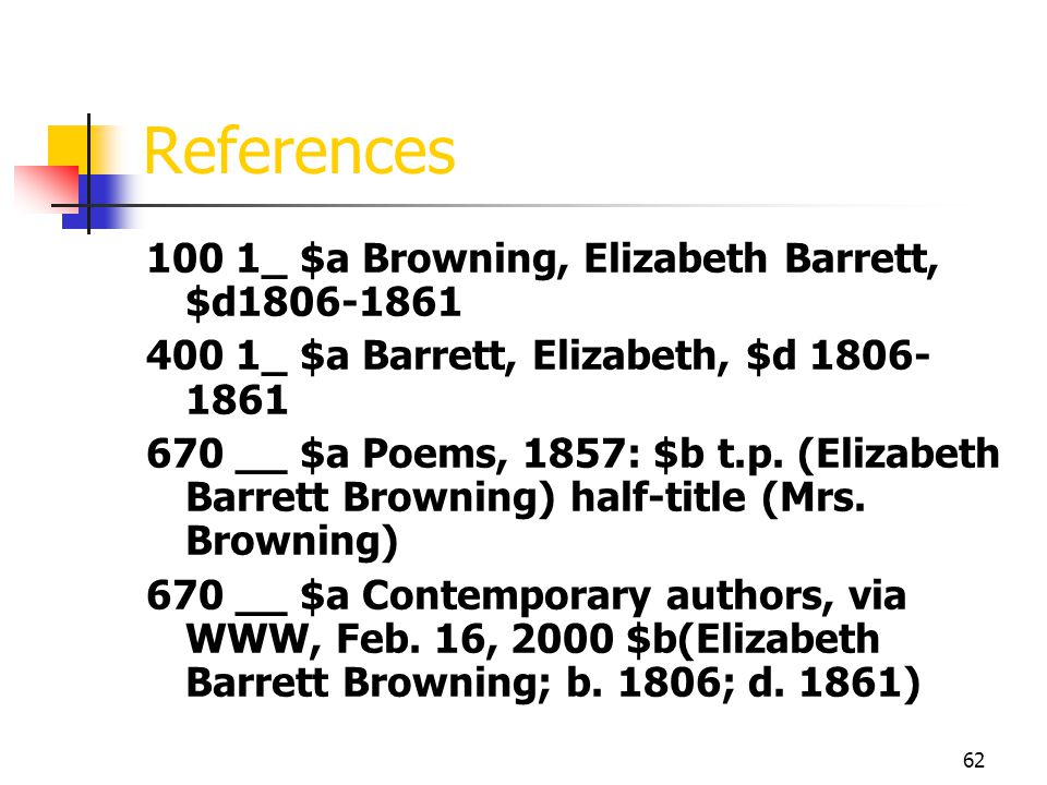 References 100 1_ $a Browning, Elizabeth Barrett, $d1806-1861