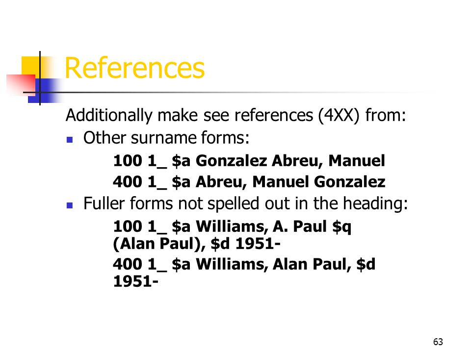 References Additionally make see references (4XX) from: