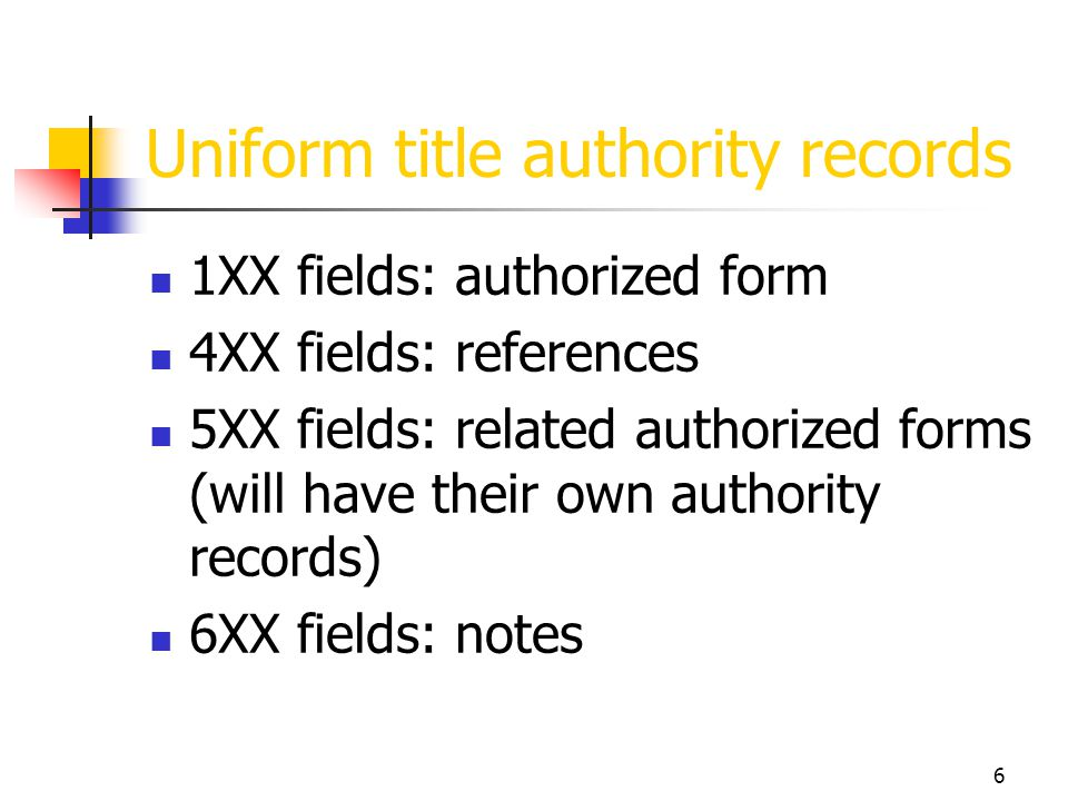 Uniform title authority records