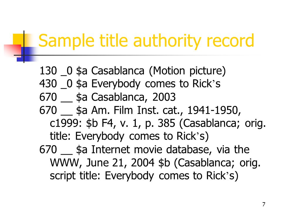 Sample title authority record