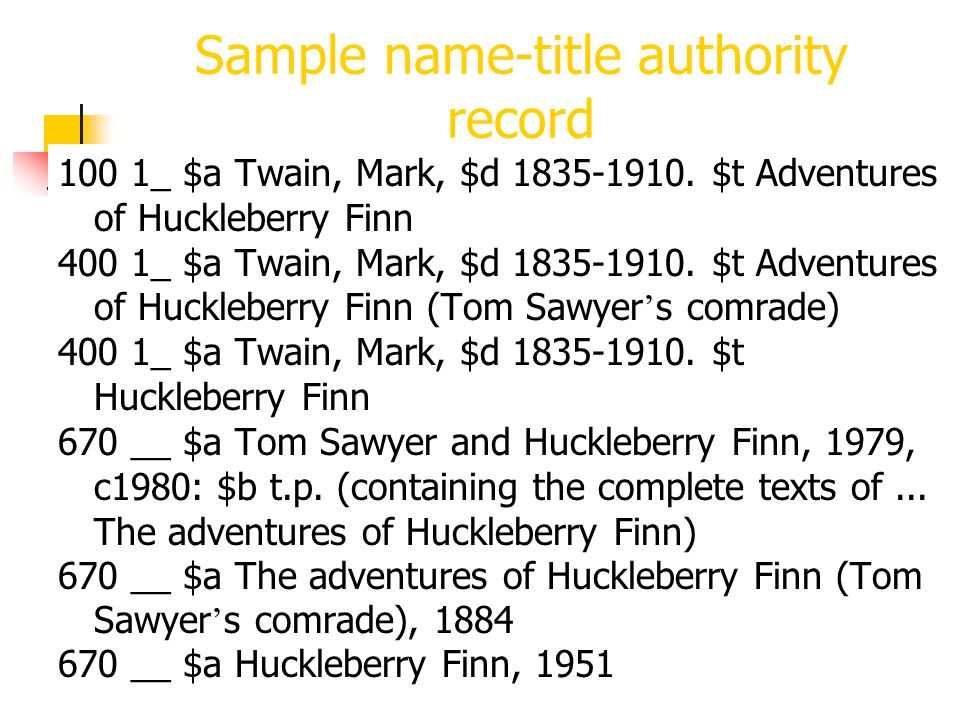 Sample name-title authority record