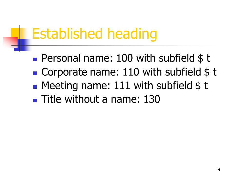 Established heading Personal name: 100 with subfield $ t