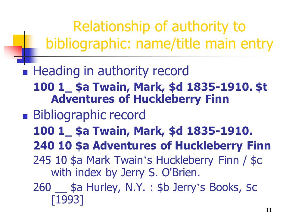 Relationship of authority to bibliographic: name/title main entry