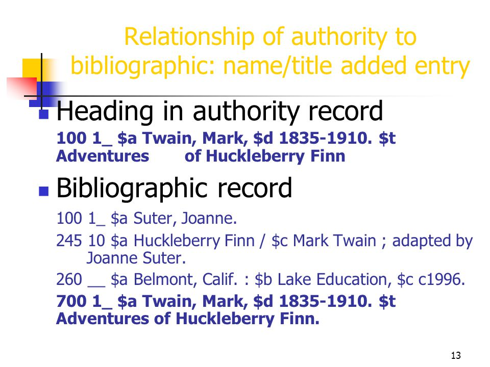 Relationship of authority to bibliographic: name/title added entry