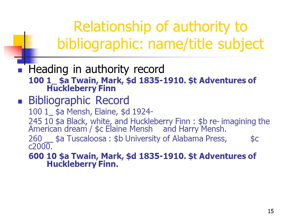 Relationship of authority to bibliographic: name/title subject