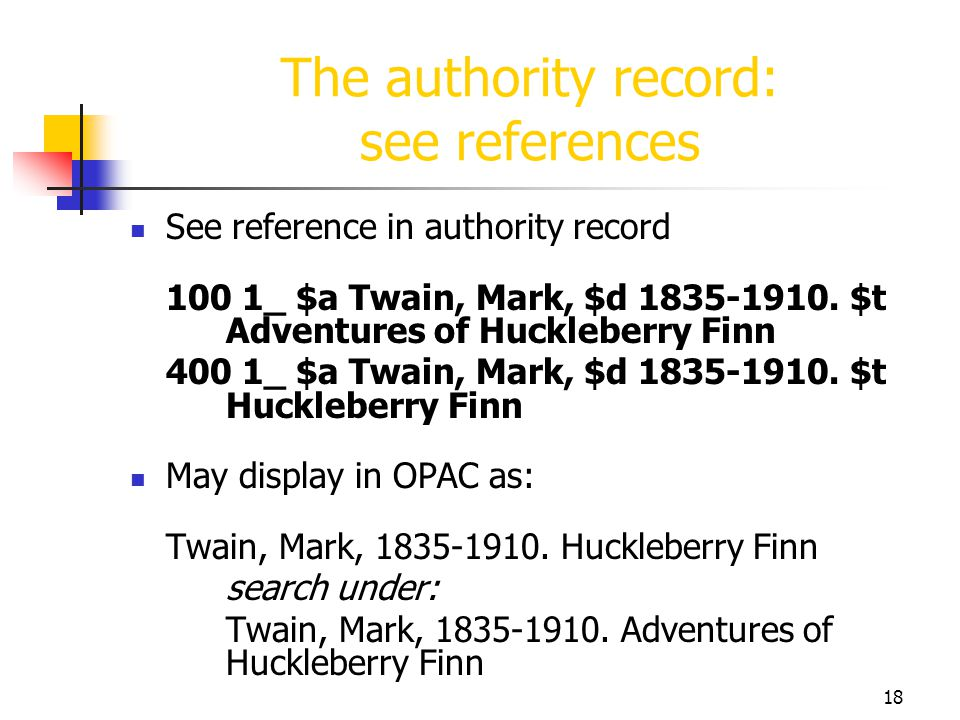 The authority record: see references