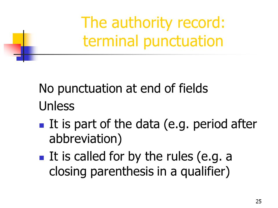 The authority record: terminal punctuation
