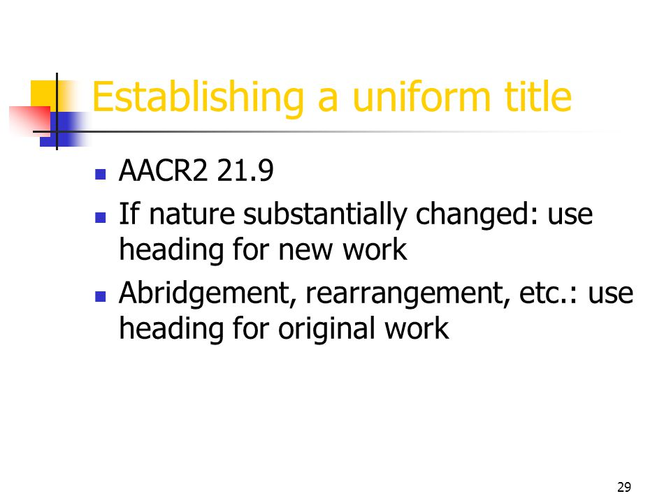 Establishing a uniform title