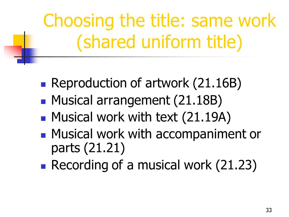 Choosing the title: same work (shared uniform title)