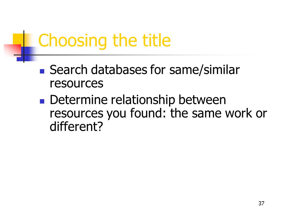 Choosing the title Search databases for same/similar resources