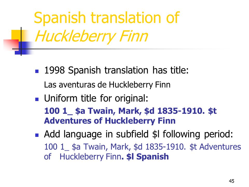 Spanish translation of Huckleberry Finn