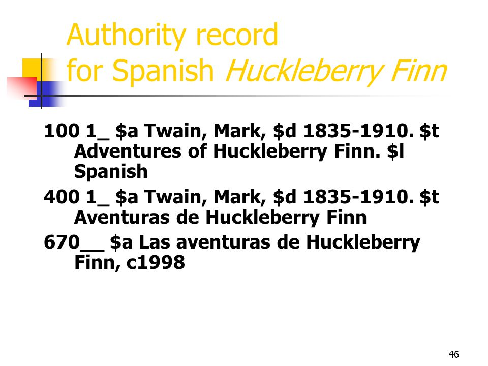 Authority record for Spanish Huckleberry Finn