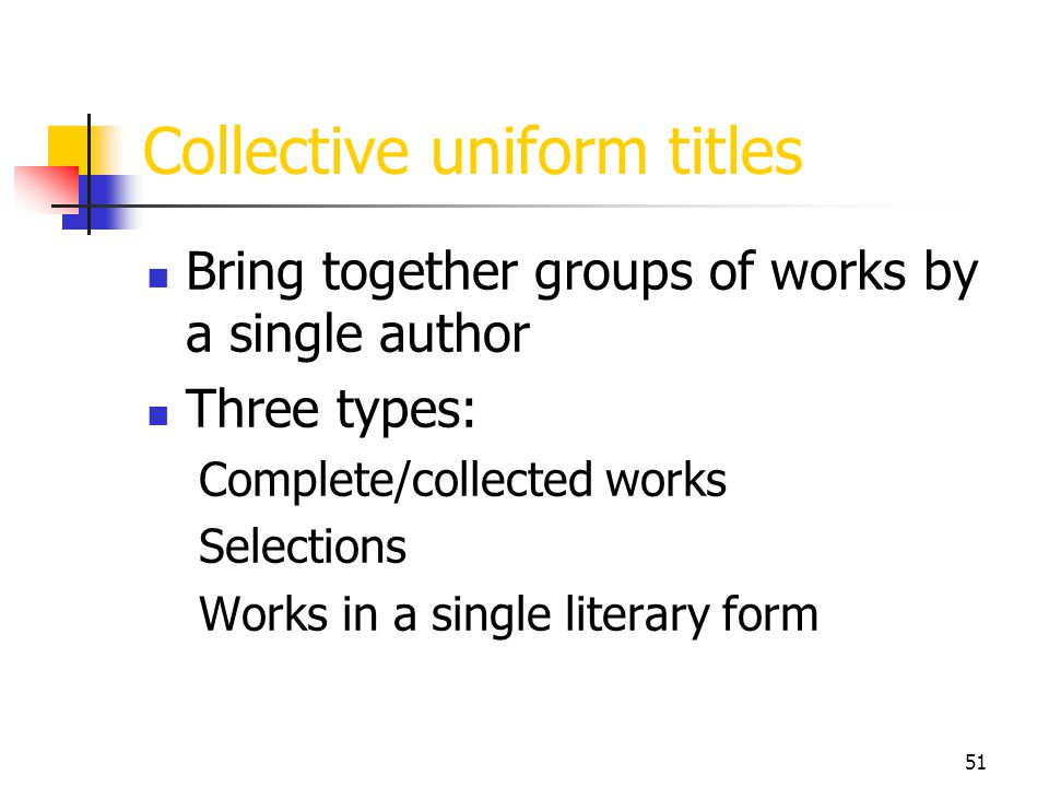 Collective uniform titles