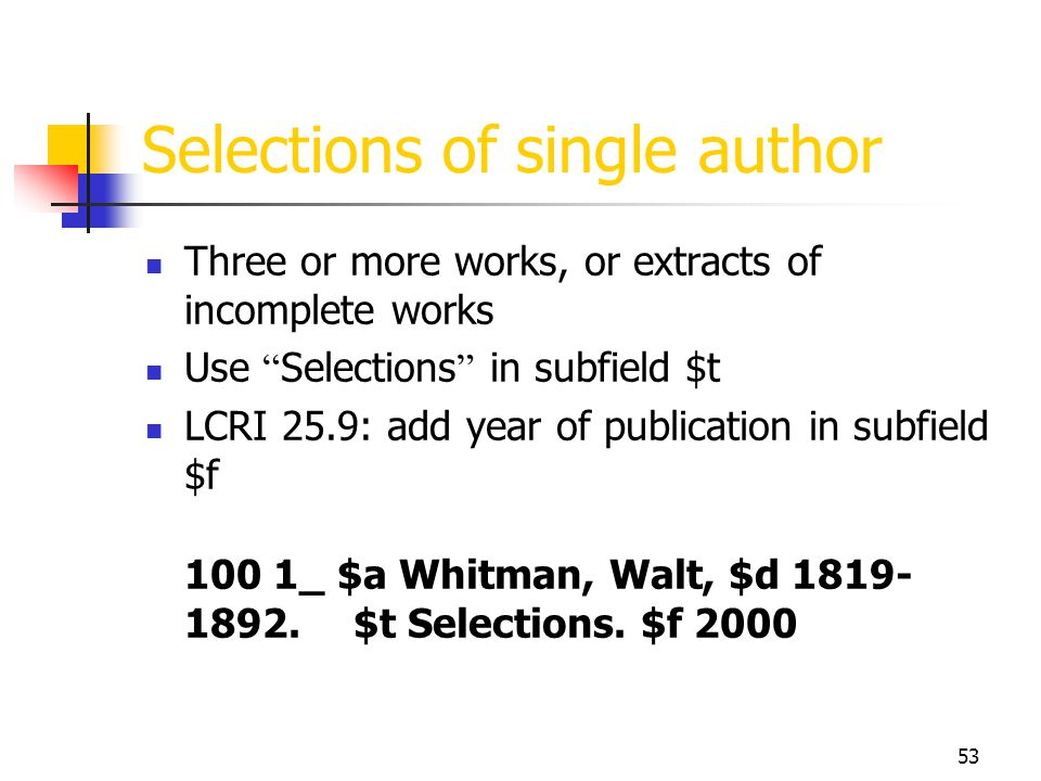 Selections of single author