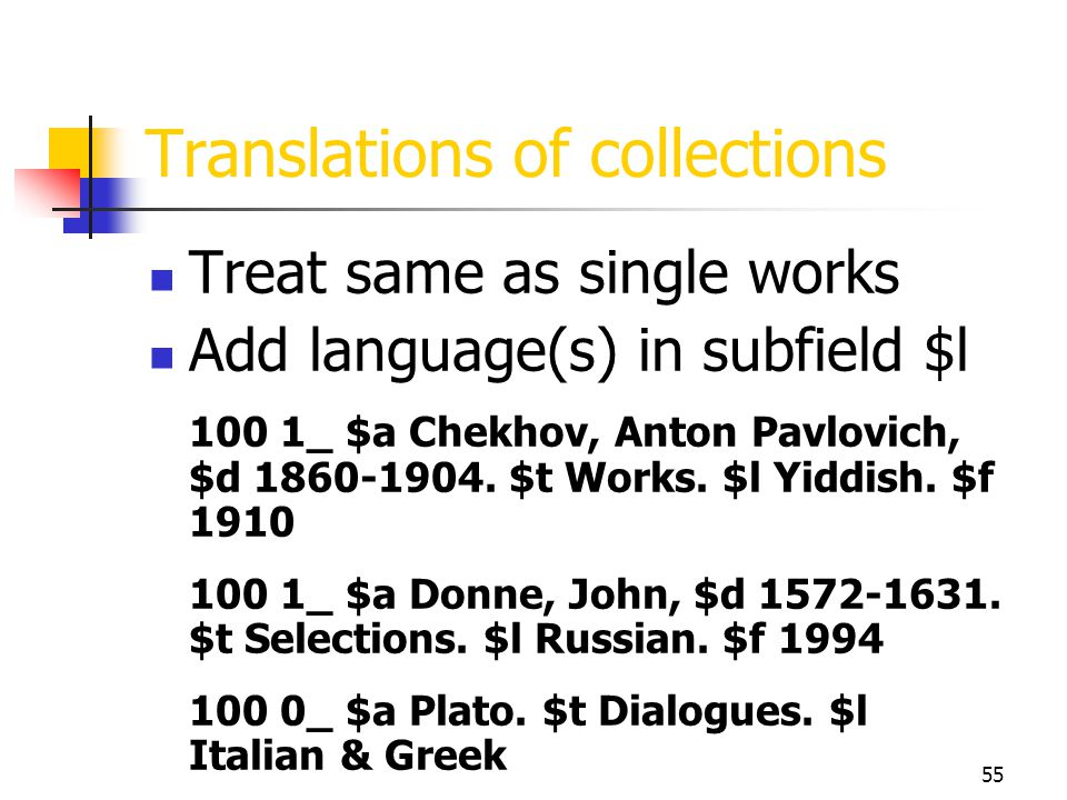 Translations of collections