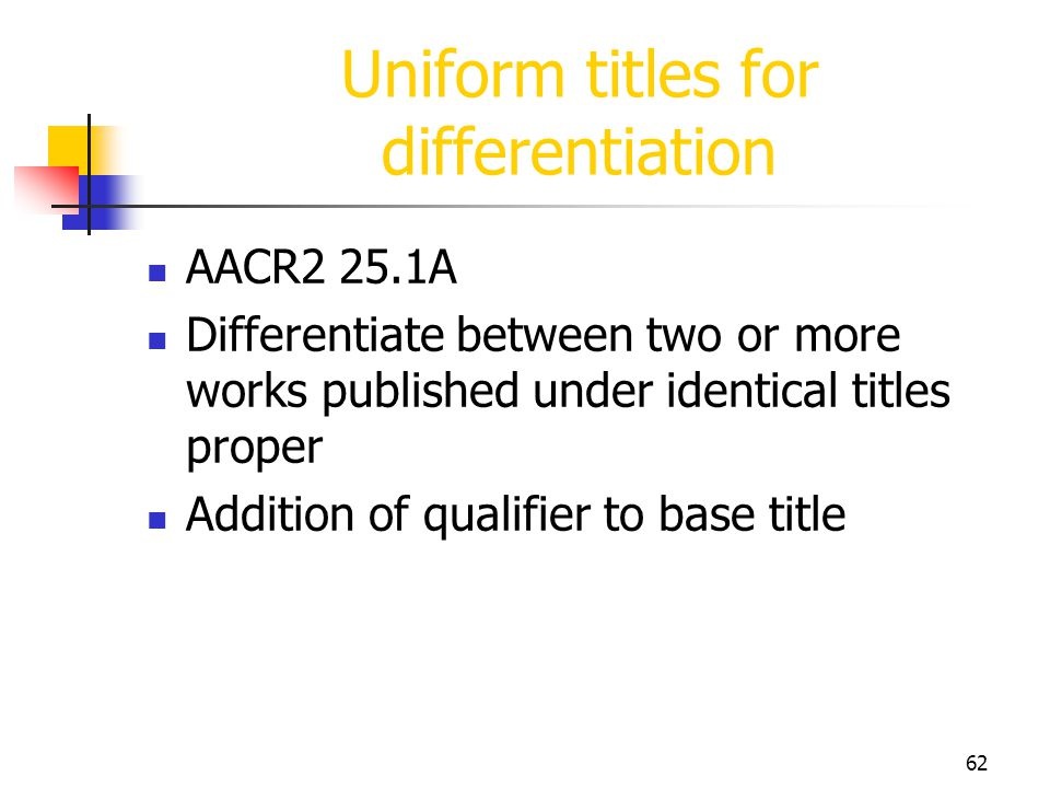 Uniform titles for differentiation