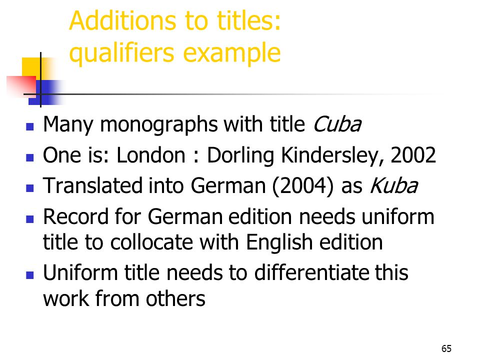 Additions to titles: qualifiers example